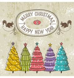 background with christmas trees and label with tex vector image
