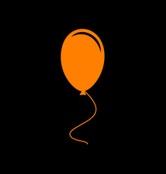 balloon sign orange icon on black vector image