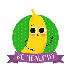 Banana cute fruit character bagde vector