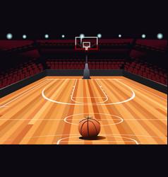 Basketball on floor vector