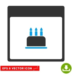 Birthday Cake Calendar Page Eps Icon vector image