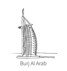 burj al arab drawing sketch vector image