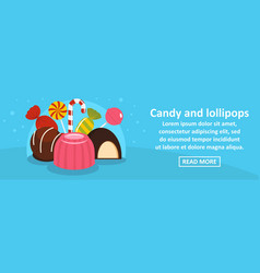 candy and lollipops banner horizontal concept vector image
