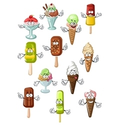 Cartoon ice cream characters for desserts design vector