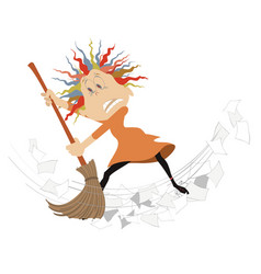 Cartoon woman tidying up vector