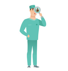 caucasian doctor with magnifying glass vector image