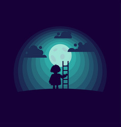 Child with a stepladder on the moon background vector