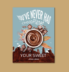 Chocolate poster design with drink vector