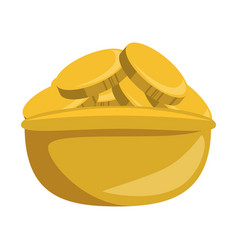 coins in bowl isolated icon vector image