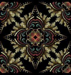 colorful embroidery baroque seamless pattern vector image
