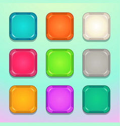 Colorful square buttons set vector