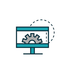 computer setting gear work tools engineering icon vector image