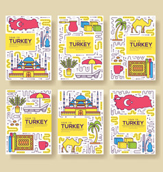 Country turkey brochure cards thin line set vector