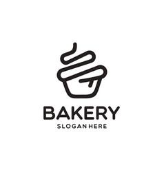 Cupcake bakery logo design vector