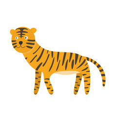 cute cartoon orange black striped smiling tiger vector image