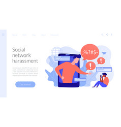 Cyberbullying concept landing page vector