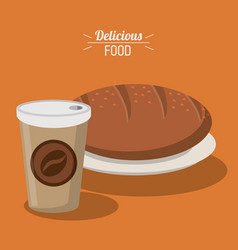 delicious food bread whole paper coffee cup vector image