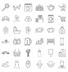 domesticity icons set outline style vector image
