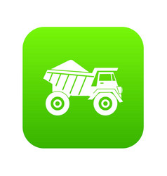dump truck with sand icon digital green vector image