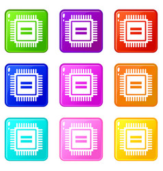 Electronic circuit board icons 9 set vector