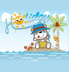 fishing cartoon at holiday time vector image