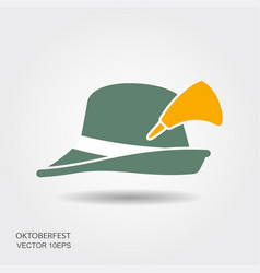flat design green oktoberfest hat on white vector image