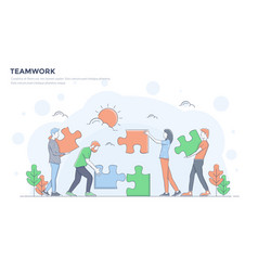 flat line modern concept - teamwork vector image