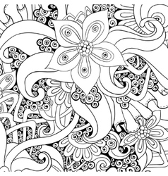 Floral decorative background Black and white vector