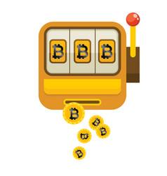 Golden bitcoin slots machine image vector