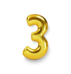 Golden number balloon 3 three realistic 3d vector