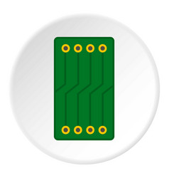Green circuit board icon circle vector
