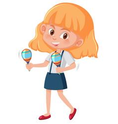 Happy girl holding maracas vector