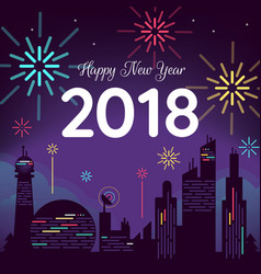 happy new year with city background vector image