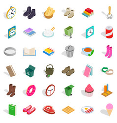 Home decoration icons set isometric style vector