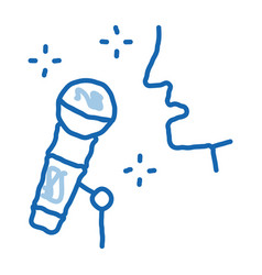 Human singing in microphone doodle icon hand drawn vector