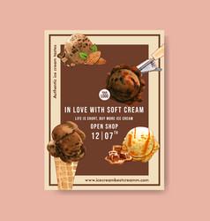 Ice cream poster design with chocolate vanilla vector