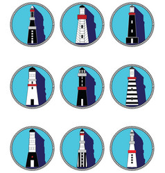Lighthouses icons in knottet circle vector image