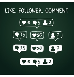 Like follower comment doodle icons on chalkboard vector image