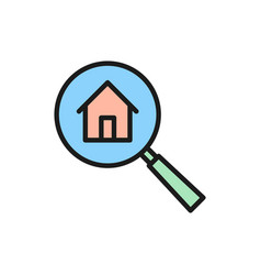 Magnifying glass with house apartment search flat vector
