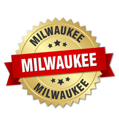 Milwaukee round golden badge with red ribbon vector