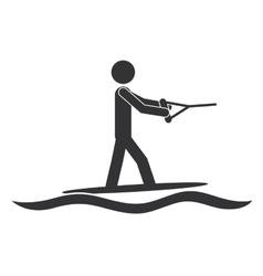monochrome silhouette with man water skiing vector image