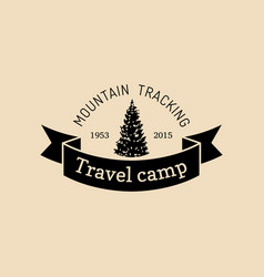 mountain camp logo tourist sign with hand vector image