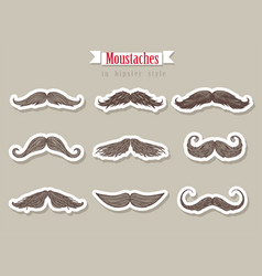 Moustaches in hipster style vector