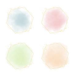multicolor pastel watercolor splash with golden vector image