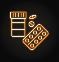 neon pills pack icon in line style vector image