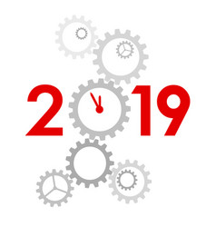 new year 2019 concept - clock vector image