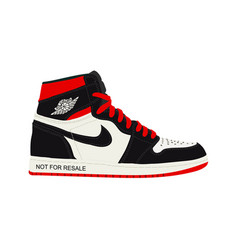 Nike air jordan sneaker trainer flat design ve vector
