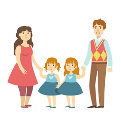 Parents and two twin little daughters vector