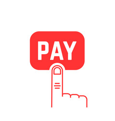 pay button with red thin line finger on white vector image
