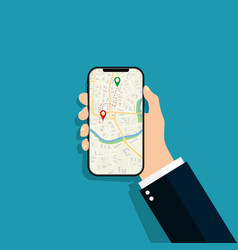phone in hand with app map smartphone with gps vector image